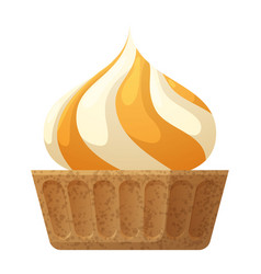 Round sweet cupcake with white and orange cream vector