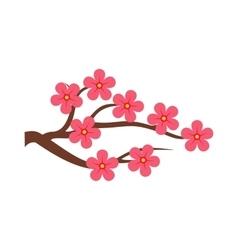 Sakura branch icon flat style vector image