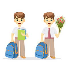 Schoolboy with backpack textbook and bouquet of vector