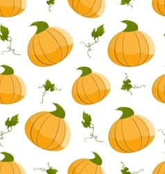 Seamless pattern with orange pumpkins and green vector image vector image