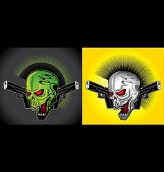 Smiling skull glock pistols punk design vector