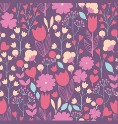 Stylized flowers and branches seamless pattern vector