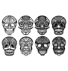 Sugar skulls set vector
