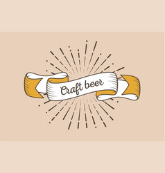 Trendy retro ribbon with text craft beer and vector