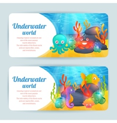 Underwater sea animals horizontal banners set vector