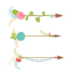 Vintage arrow set with floral element and feather vector
