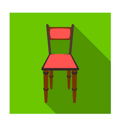Wooden chair icon in flat style isolated on white vector