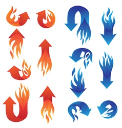 Red and blue fire arrow collections vector