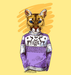 Puma in knitted sweater vector