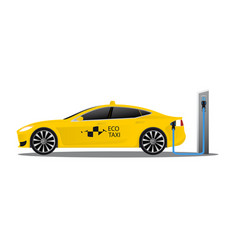 yellow electric car with logo eco taxi vector image