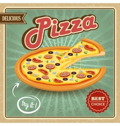 Pizza retro poster vector image
