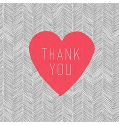hand drawn pattern thank you heart symbol vector image