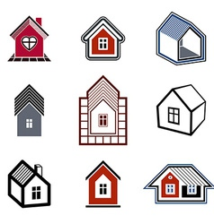 Houses abstract icons vector