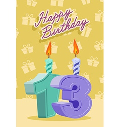 13 year happy birthday card vector