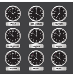 Time zones black and silver clock set eps10 vector