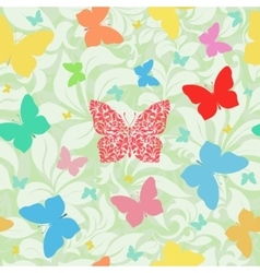 Colored butterflies seamless floral background vector