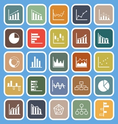 Graph flat icons on blue background vector