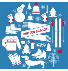 Winter season icons set in retro style vector