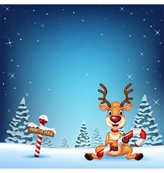 Cartoon deer holding christmas candy with winter b vector