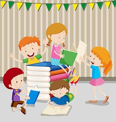 Children reading books in classroom vector