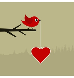 Birdie with heart vector