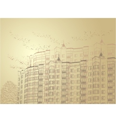 Architectural sepia urban vector