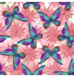 Butterflies and flowers low poly pattern vector
