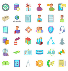 Bad economy icons set cartoon style vector