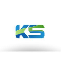 blue green ks k s alphabet letter logo vector image vector image