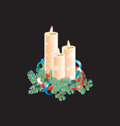 christmas decorative composition three candles vector image
