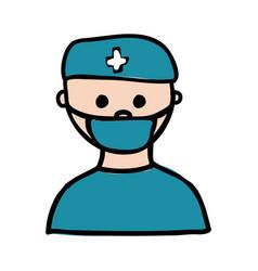 colorful hand drawn silhouette of male nurse half vector image
