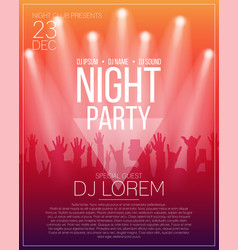 Dance party flyer or poster design template night vector