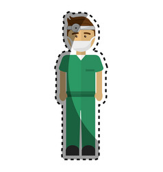 Doctor with medical mask and reflector vector
