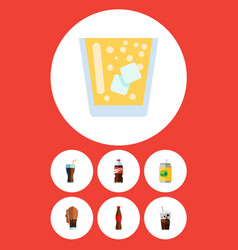 Flat icon drink set of beverage lemonade bottle vector