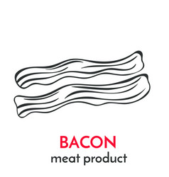 hand drawn bacon icon vector image