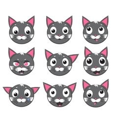 icons of smiley cat faces vector image vector image