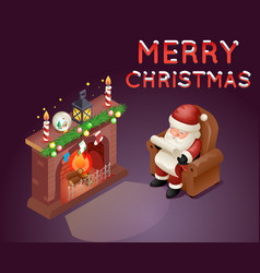 Isometric 3d santa claus read gift list sit vector