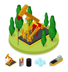 Isometric gas and oil industry platform drilling vector