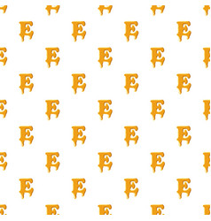 Letter e from honey pattern vector