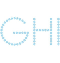 Letter G H I from snowflakes vector image