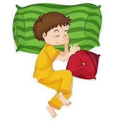 Little boy in yellow pj sleeping vector