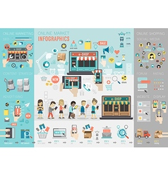 Online market infographic set with charts and vector