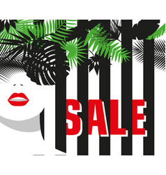 Sale banner fashion girl tropical leaves bold vector