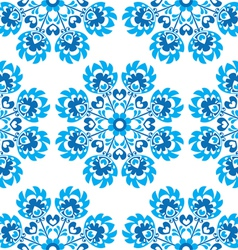 Seamless blue floral polish folk art pattern vector