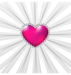 Shiny crystal love hearts on silver line vector