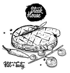 steak house hand drawn beef steak with rosmarine vector image