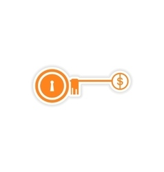 Stylish sticker on paper key lock money vector