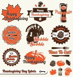 Thanksgiving day labels vector