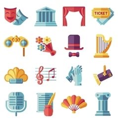 Theatre acting performance flat icons set vector