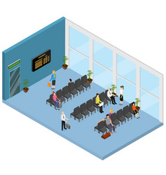 Waiting hall interior isometric view vector